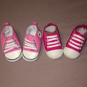 2 pairs of baby girl soft  sneakers